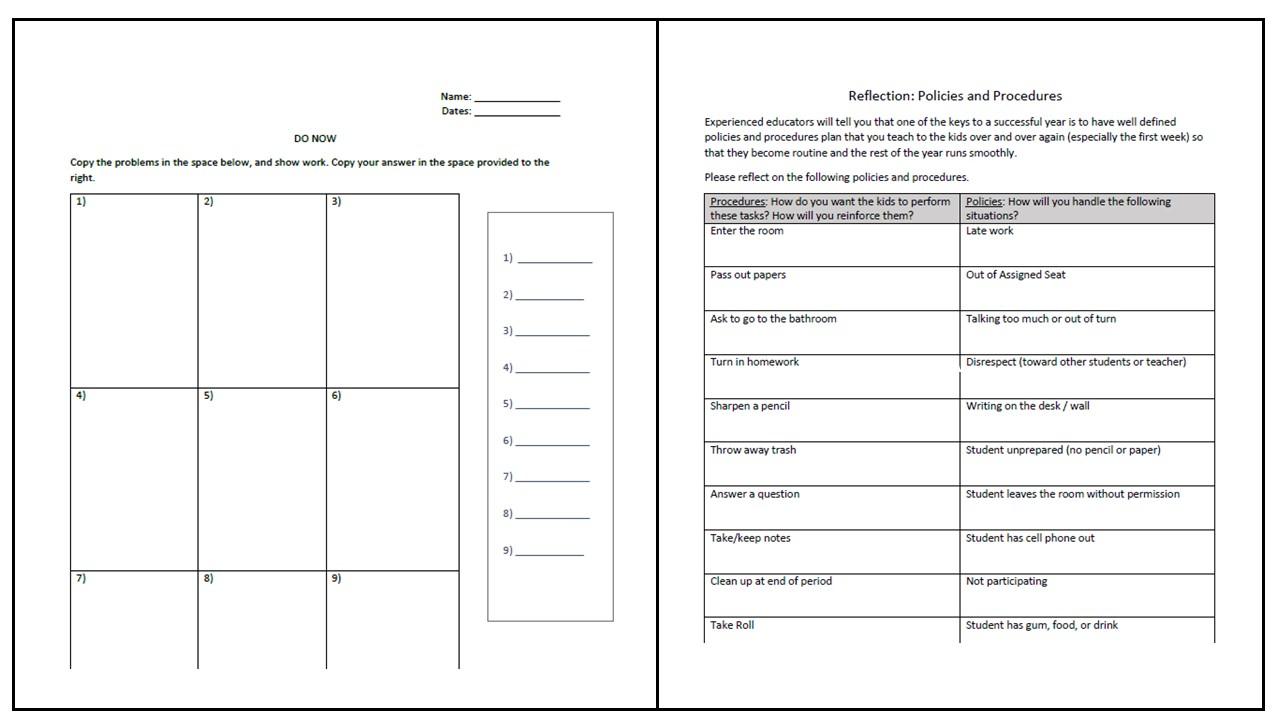 classroom management worksheets rethink math teacher. Black Bedroom Furniture Sets. Home Design Ideas